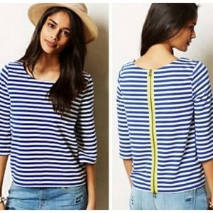 Anthro Postmark Genoa blue white stripe knit top